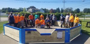 Dylan Sweet and Eagle Scout troop inside Gaga Ball pit